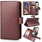 TILL for LG Stylo 3 / LG Stylo 3 Plus Case, TILL LG Stylus 3 Wallet Case PU Leather Carrying Flip Cover [Cash Credit Card Slots Holder & Kickstand] Detachable Magnetic Folio 3D Full Case Shell [Brown] For Sale