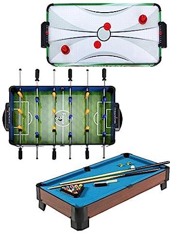 Kamal Ohava Table Top Games Bundle - 3 Items: Air Hockey, Foosball, and Billiard Pool Table (Blue) - Power Air Hockey