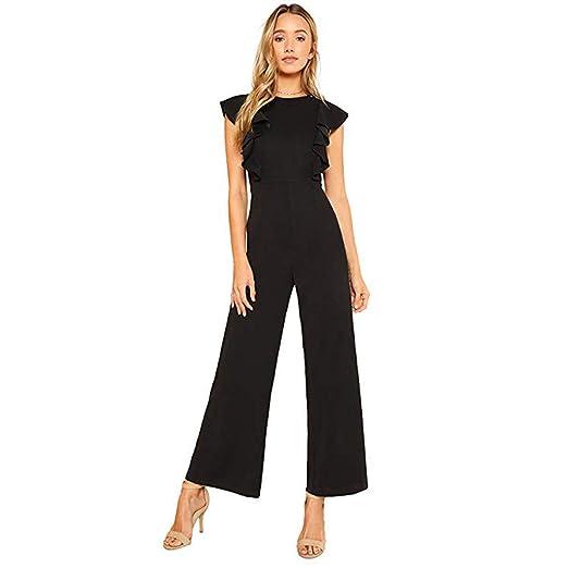 2f406062b688 Amazon.com: Women's Sexy Casual Sleeveless Ruffle Trim Wide Leg High Waist  Long Jumpsuit: Clothing