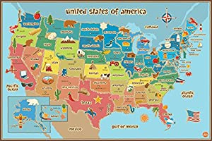 Wall Pops WPE0623 Kids USA Dry Erase Map Decal Wall Decals New from Home Comforts