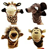 Caleson Zoo Friends Hand Puppets (Set of 4) - Elephant, Giraffe, Lion, and Monkey(Big Movable Mouths)