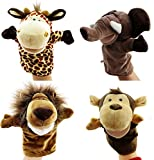 Image of Caleson Zoo Friends Hand Puppets (Set of 4) - Elephant, Giraffe, Lion, and Monkey(Big Movable Mouths)