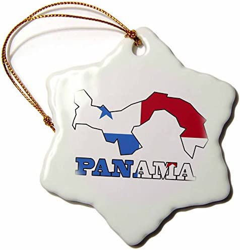 3drose Orn 58775 1 The Flag Of Panama In The Outline Map And Word Panama Snowflake Ornament Porcelain 3 Inch Home Kitchen