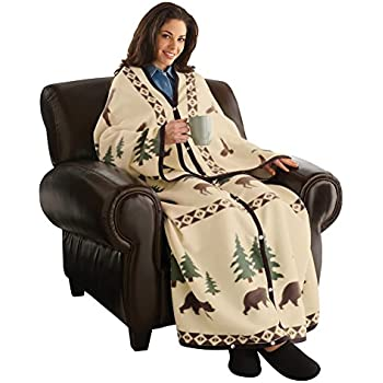 northwoods wearable fleece blanket with snaps lays flat and wraps around adult. Black Bedroom Furniture Sets. Home Design Ideas