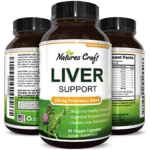Natures Craft's Natural Liver Support Dietary Supplements Promote Liver Health & Weight Loss For Men & Women – Milk Thistle + Dandelion + Artichoke Complex – Detox Cleanse Vitamins Boost -