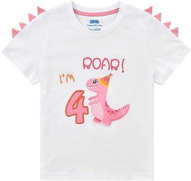 AMZTM 4 Años Camiseta Cumpleaños Niñito Niña - Dinosaurio Manga Corta Top tee: Amazon.es: Ropa y accesorios