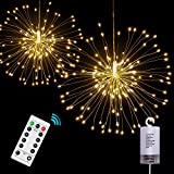 Best Price Onforu 2 Pack Led String Lights 8 Modes Dimmable With Remote Control Battery Operated Hanging Starburst Lights With 100 Led Ip65 Waterproof Decorative Copper Wire Lights For Partieswarm Whi
