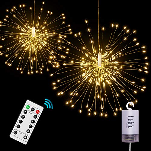 Onforu 2 Pack LED String Lights, 8 Modes Dimmable with Remote Control, Battery Operated Hanging Starburst Lights, IP65 Waterproof, Decorative Copper Wire Lights for Parties(Warm White)