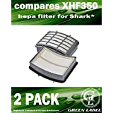 2 Pack HEPA Filter for Shark Navigator Lift-Away Vacuum Cleaners (compares to XHF350). Fits: NV350, NV351, NV352, NV355, NV356, NV356E, NV357. Genuine Green Label Product