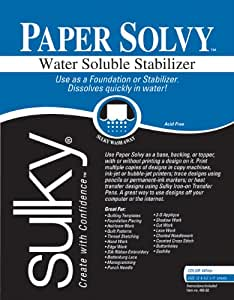 Sulky Paper Solvy Water Soluble Fabric Stabilizer, 8-1/2 by 11-Inch, 12 Per Package