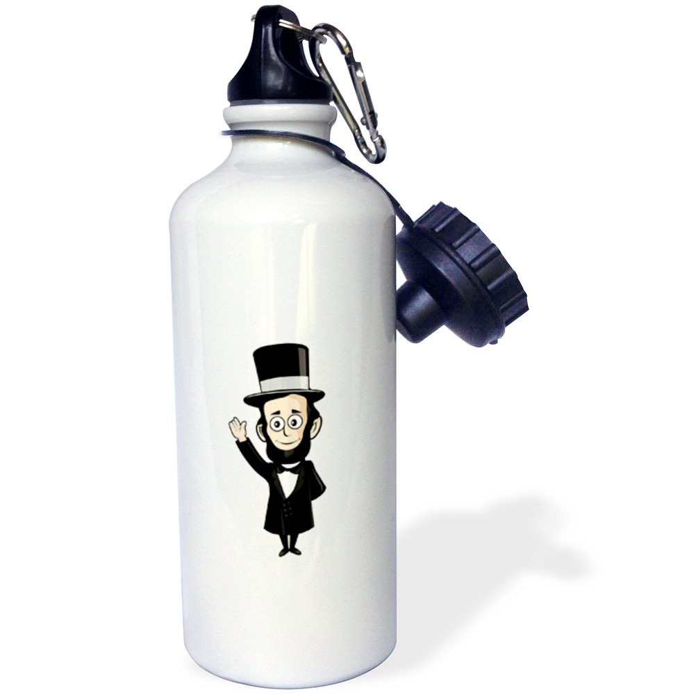 3dRose Scenes from the Past Fun with Historical Figures - President Abraham Lincoln Honest Abe - 21 oz Sports Water Bottle (wb_240583_1)