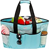 Mesh Beach Bag for Women -Extra Large Beach Tote Bag with 8 Oversized Pockets -Lightweight Market Grocery & Picnic Tote Travel Bag with Top Zipper