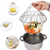 MAZIMARK--Foldable Steam Rinse Strain Fry Chef Basket Strainer Net Kitchen Cooking Tool RS