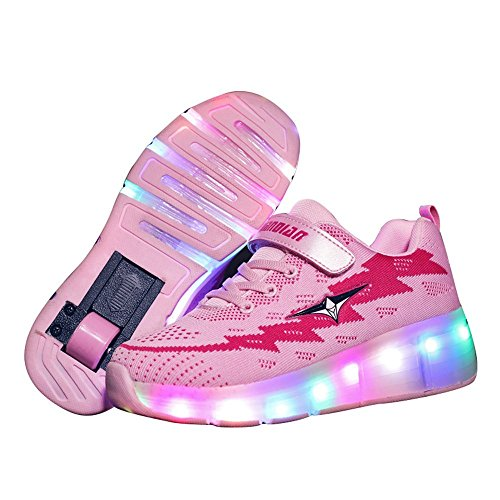 Jumping Birthstone Boys Girl Roller Shoes LED Flashing 2 Wheels Roller Skate Shoes USB Charger Sneakers for Kids School Gift(Pink 1wheels 12 M US Little Kid = EU 29)]()