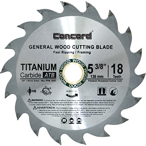 Concord Blades WCB0538T018HP 5-3/8-Inch 18 Teeth TCT General Purpose Hard & Soft Wood Saw Blade (Thin Laminate Kerf)