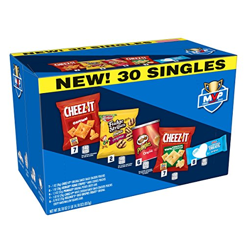 Cheez-It Variety Pack, Original and White Cheddar Cheese Crackers, Keebler Fudge Stripes Minis Cookies, Pringles Original Potato Crisps Chips, Rice Krispies Treats Original, 30.18 oz (Pack of 30)