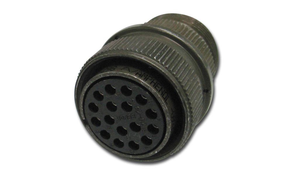 Amphenol Industrial MS3106A20-29S Circular Connector Socket, General Duty, Non-Environmental, Threaded Coupling, Solder Termination, Straight Plug, 20-29 Insert Arrangement, 20 Shell Size, 17 Contacts