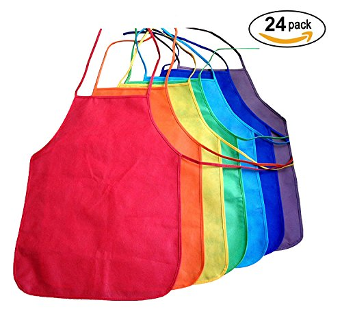 Multicolor Kids Artists Apron Set of 24 - Open Back Sleeveless Art Craft Smock Aprons | Children's Assorted Variety Pack of 24 Colorful DIY Protective Reusable Kitchen | Painting Aprons - Pack Diy Back
