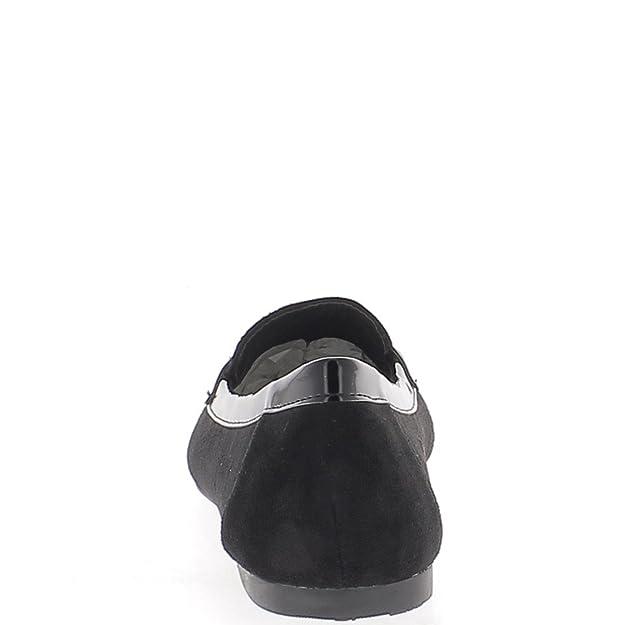 Ballerines noires aspect daim talonnette de 0,5cm avec bout look mocassins
