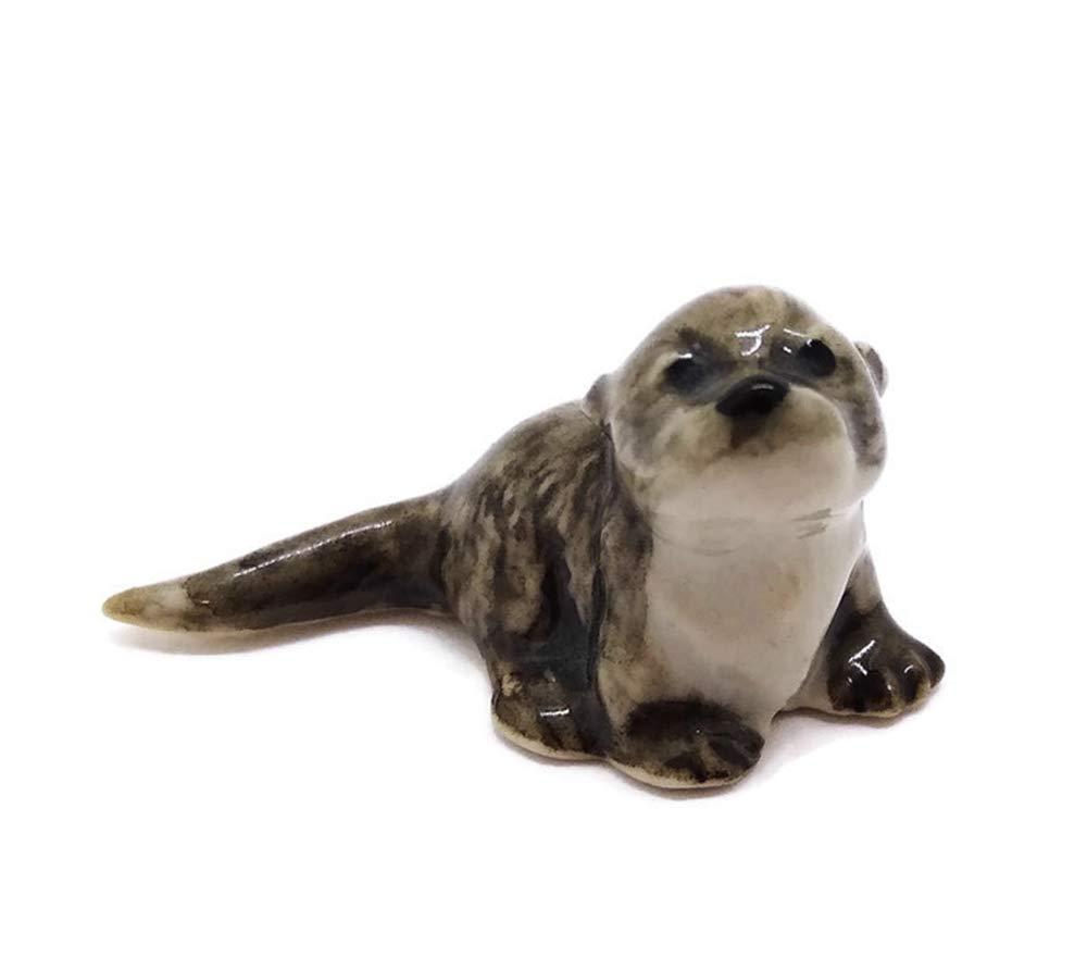Ceramic Little Otters Animal Figurine Collections Handmade Craft Decor