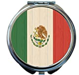 Rikki Knight Mexico Flag on Distressed Wood Design Round Compact Mirror