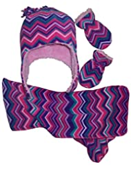 N'Ice Caps Girls and Toddler/Baby/Infant Chevron Soft Lined Hat/Mitten/Scarf Set