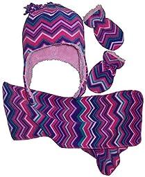 N\'Ice Caps Girls Chevron Soft Sherpa Lined Hat/Scarf/Mitten Set (12-18 Months, Infant - Purple/Fuchsia/Pink/Turq/White)