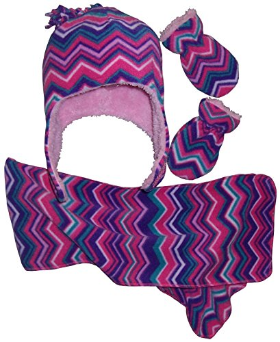 N'Ice Caps Girls and Baby Fair Isle Print Fleece Hat/Scarf/Mitten Set (Zig Zag - Infant, 6-18 Months)