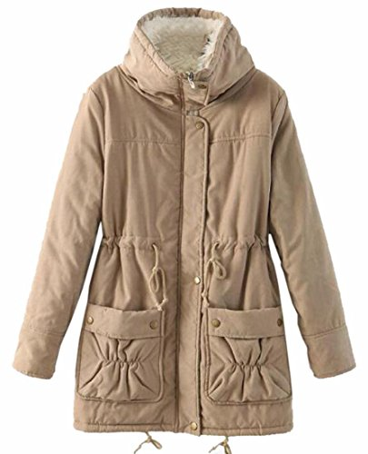 Womens Khaki Waist Fleece Jackets TTYLLMAO Casual Coats Parkas Drawstring z8Wn8HS6a