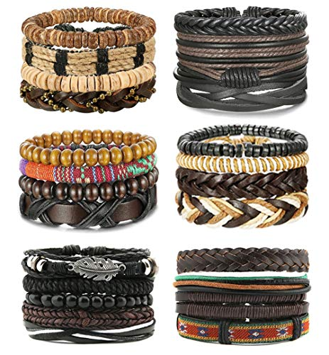 LOLIAS 4-24 Pcs Woven Leather Bracelet for Men Women Cool Leather Wrist Cuff Bracelets Adjustable (Steel By Design Jewelry)