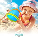 GrowthPic Kids Beach Sand Toy Set with Bucket, Sand Wheel, Watering Can, Shovel, Rake, Rolling Rake and 5 Sea Creatures Molds and Sand Tool Play Set for Babies and Toddlers