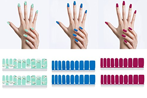 Angel Beauty - Premium Nail Wraps Set- Art Decal, 3 Packs, 60 Nail Stickers, Nail Polish Effect, Gel & Acrylic Free, Remover Free, No Heat Lamp Needed, Long Lasting With Different Size