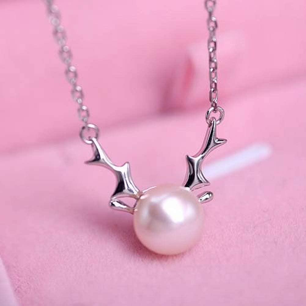 WOZUIMEI Pendientes de Plata Esterlina Collar de Gargantilla Moda para Mujer Hoja de Plata 925 Collar de Perlas Bordado Collar de Plata de Ley 925 Collar de Perlas de Agua Dulce Natural Elce Exquisit