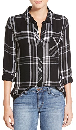 BomDeals Womens Casual Relaxed Button Front Long Rustic Plaid Buttery-Soft Flannel Shirt(Black,XL)