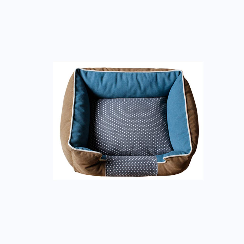Brown S 504017cmKennel QIQIDEDIAN Removable And Washable Small And Mediumsized Large Dog Pet Nest golden Retriever Dog Bed Dog Mat Cat Litter Dog Supplies Four Seasons (color   bluee, Size   S 50  40  17cm)