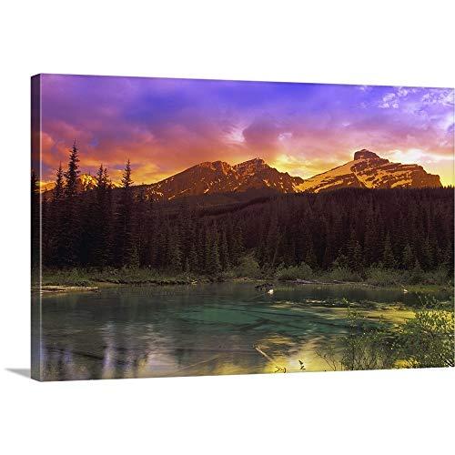 Carson Ganci Premium Thick-Wrap Canvas Wall Art Print entitled Small Mountain Lake With Submerged Logs, British Columbia, Canada - Mountain Furniture Rocky Log