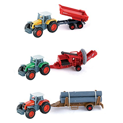 Diecast Tractor Trailer Trucks - Diecast Farm Tractors with Trailer 1:72 Scale Vehicles (Set of 3)