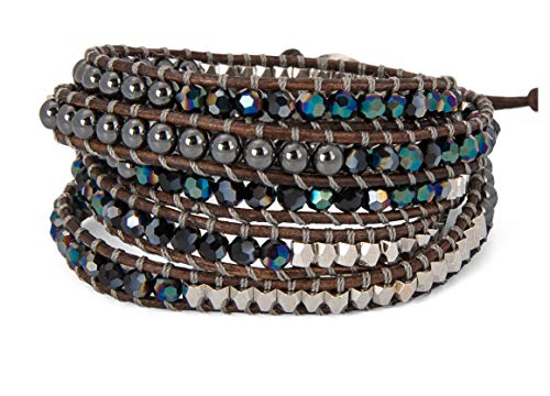 SPUNKYsoul 5 Wrap Bracelets Blue Irridescent Silver & Hematite Collection ()