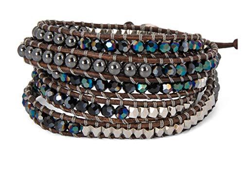 SPUNKYsoul 5 Wrap Bracelets Blue Irridescent Silver & Hematite Collection (Beaded Wrap Bracelet)