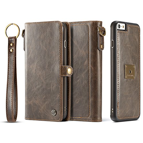 XRPow iPhone 6S Plus Magnetic Detachable Case, Wrist Strap Slim Cover Leather Folio Wallet Holder Case for Apple iPhone 6 Plus /6s Plus 5.5inch Brown ()