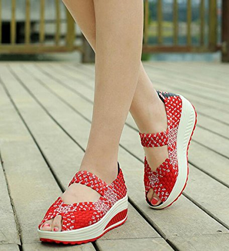 Toe Slip Wedge Red Sandals Shoes Shoes GFONE Mary Sneaker Woven Casual Peep Women's Jane Fitness Platform On Walking 8qqPRUp
