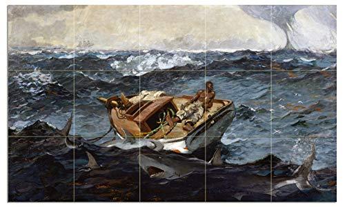 Tile Mural Seascape Boat Fisherman Fish Shark The Gulf Stream by Winslow Homer Kitchen Bathroom Shower Wall Backsplash Splashback 5x3 6