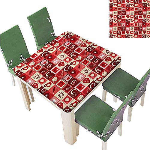 (100% Polyester Luxury Tablecloth,Valentines Day Themed Frames Pattern with Hearts Stars Love Lettering and Candy Tablecloth Waterproof,43.5W x 43.5L Inches(Elastic Edge) )
