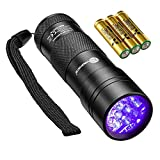 TaoTronics Black Light, 12 LEDs 395nm UV Blacklight Flashlights Detector for Dry Pets Urine and Stains with 3 Free AAA Batteries