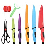 Thiroom 8-Piece Professional colorful Chef Knife Set Stainless Steel and a Non-Stick Coating with Comfort Grip Handles – Including 5 Cooking Knives, Kitchen Shears and a Vegetable Peeler Review