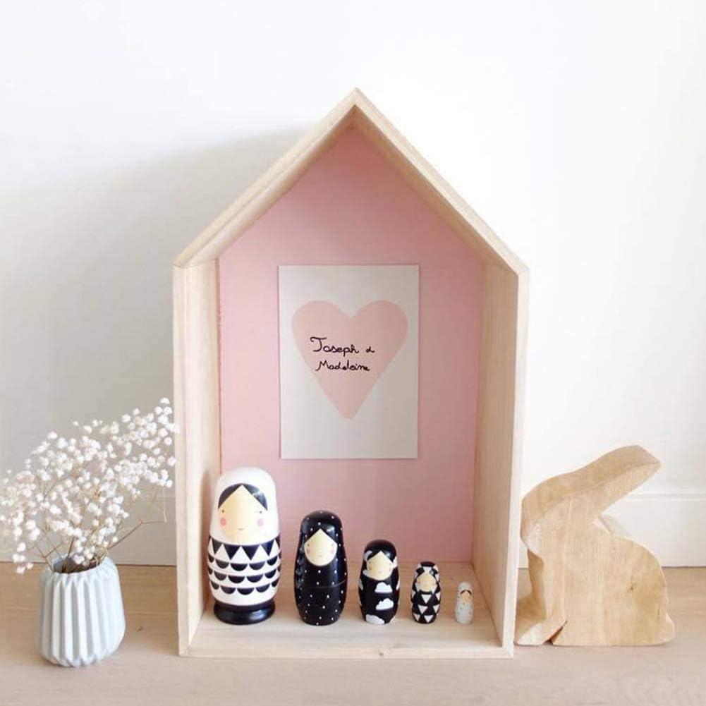 Russian Nesting Dolls Matroschka Nesting Handgefertigte Holz nette Karikatur-Muster Matrjoschka Holz Matryoshka russische Verschachtelungs-Toy-Schwarzweiss-Verschachtelungs-Puppen Russian Doll 5pcs