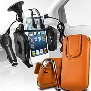 Nokia Lumia 900 premium protección PU botón magnético ficha de extracción Slip espinal en bolsa de la cubierta de piel de bolsillo rápido con lápiz óptico retráctil, Jack de 3,5 mm auriculares auriculares auriculares, cargador de coche USB Micro 12v y soporte universal de la succión del parabrisas del coche Vent Cuna de Orange por Spyrox