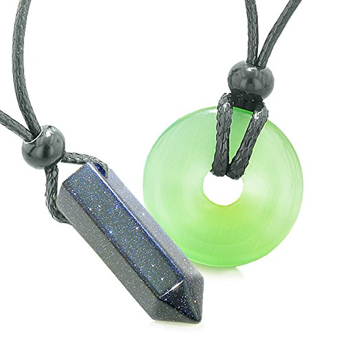Yin Yang Powers Love Couple Crystal Point Lucky Donut Goldstone Green Simulated Cats Eye Amulet Necklaces