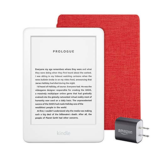 Kindle Essentials Bundle including All-new Kindle, now with a built-in front light, White - with Special Offers, Kindle Fabric Cover – Punch Red, and Power Adapter