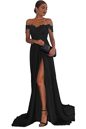 17f8922fe6b Sweet Bridal Women s Off The Shoulder Lace Sexy Long Formal Evening Dress  Black US2